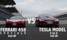 Ferrari 458 Speciale-Tesla Model S P85D Drag Yarışı