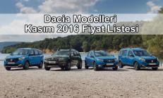 Dacia Modelleri Kasım 2016 Fiyat Listesi