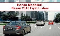 Honda Modelleri Kasım 2016 Fiyat Listesi