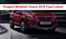 Peugeot Modelleri Kasım 2016 Fiyat Listesi
