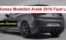 Alfa Romeo Modelleri Aralık 2016 Fiyat Listesi