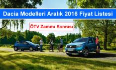 Dacia Modelleri Aralık 2016 Fiyat Listesi