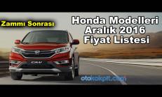 Honda Modelleri Aralık 2016 Fiyat Listesi
