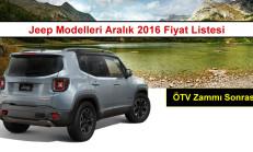 Jeep Modelleri Aralık 2016 Fiyat Listesi