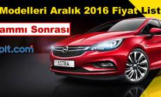 Opel Modelleri Aralık 2016 Fiyat Listesi