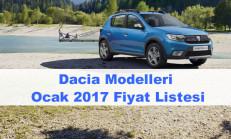 Dacia Modelleri Ocak 2017 Fiyat Listesi