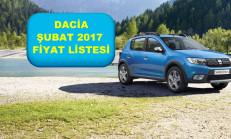 Dacia Modelleri Şubat 2017 Fiyat Listesi
