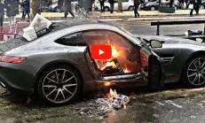 Sarı Yelekliler Paris'te Lüks Araçları Hedef Aldı