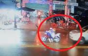 Motosikletli SUV'un Altında Kalmaktan Son Anda Kurtuldu