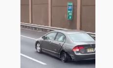 Honda Civic Jant Üstünde Giderken Yakalandı