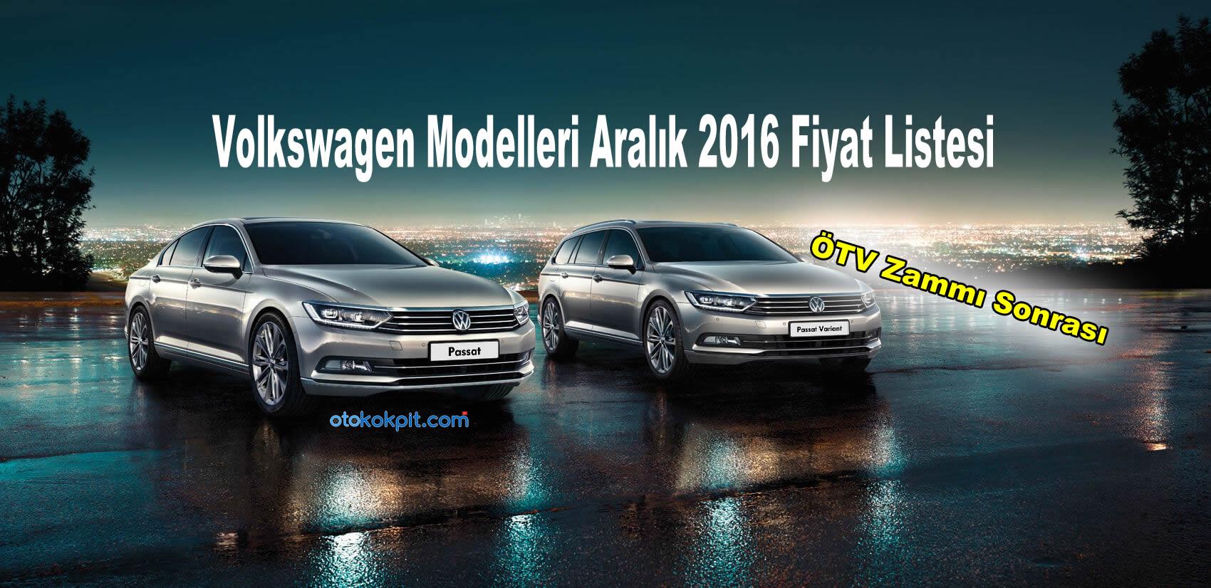Volkswagen Modelleri Aralık 2016 Fiyat Listesi