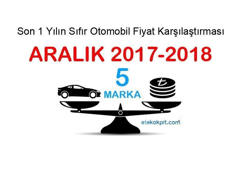 Sıfır Otomobil Fiyat Karşılaştırması (Aralık 2017-2018